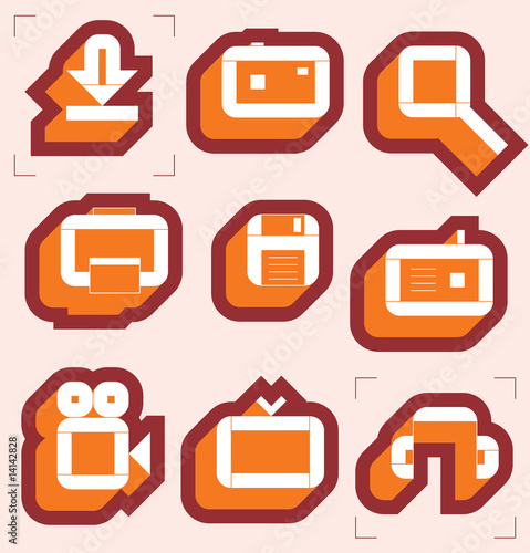 poster of Grid icons for media resources. Vector illustration.