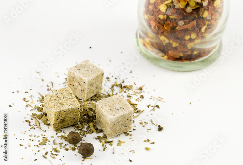 Spices arranged on a white background