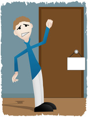 Unsept man banging on door with blank sign