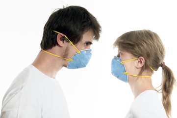 Young couple wearing  protection masks