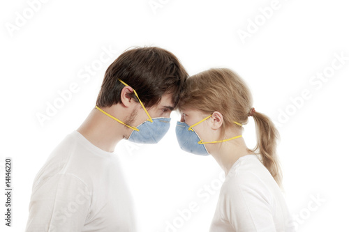 Young couple wearing  respirators