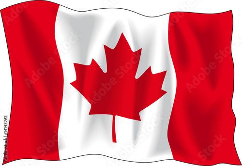 Canadian wavy flag isolated on white background