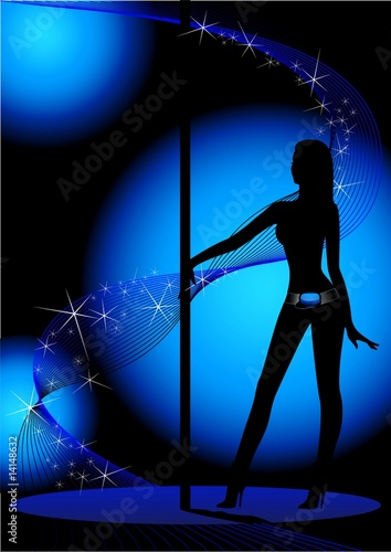 Beautiful silhouette of young women dancing a striptease