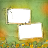 Two grunge frames with bunch of flowers and streamers