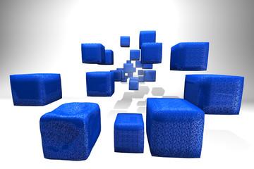Blue glitter cubes communication technology metaphors.
