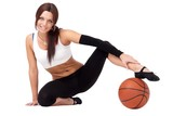 sportswoman with basketball sitting on white background
