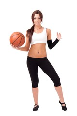 sportswoman with basketball
