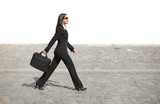 Businesswoman in a hurry poster