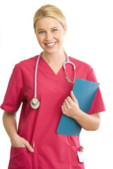 Young female doctor holding folder, smiling, portrait, cut out