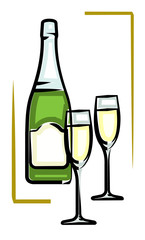 Bottle of Champagne vector illustration Champaign