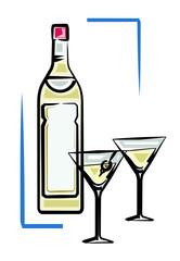 Bottle of martini vector illustration