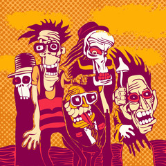 grunge background with halloween person, for CD cover