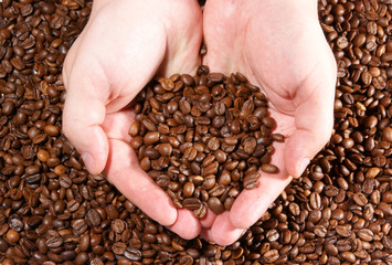 Сoffee grains on the hands