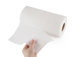 Hand touching paper towel with path (see also)