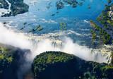 Zambezi river and Victoria Falls, aerial view - Fine Art prints