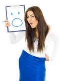 Shocked open-mouthed woman drawing smile poster