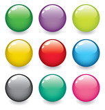 Fototapety set of realistic, dimensional, colorful, vector spheres