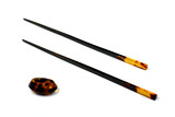 chopsticks and stand of amber  for eastern food