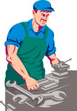 Worker with lathe machine poster