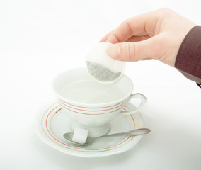 A cup of hot water for tea.