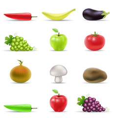 various fruit and vegetables icons isolated on white