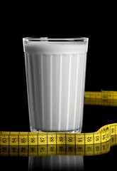 Measuring tape and glass with the kefir