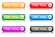"""Free Trial"" buttons (various colours with reflection)"