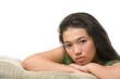 Female teenager pose on the sofa
