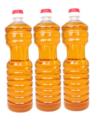 bottles with vegetable oil