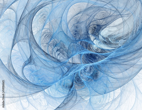 Staande foto Fractal waves Blue fractal tunnel