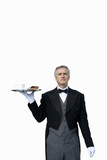 Mature butler with tray of tea, cut out