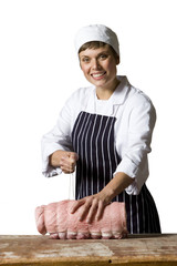 Female butcher at work, smiling, portrait, cut out