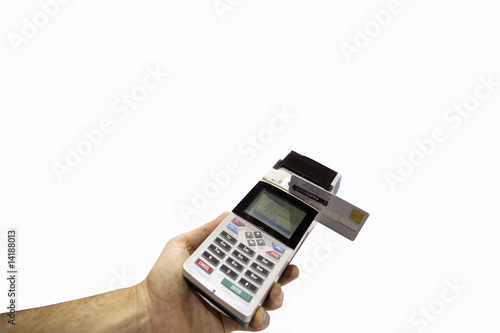Man with credit card machine, close-up, cut out