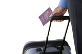 Businessman with luggage and passport, cut out
