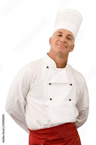 Mature male chef, hands behind back, smiling, portrait, cut out