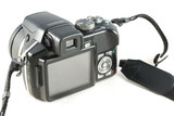 Point and shoot zoom digital camera isolated on white background