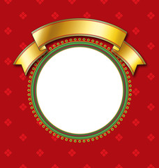 circular frame on red backgroun