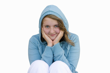 Teenage girl in hood, smiling, portrait, cut out
