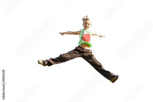 Girl jumping, arms outstretched, cut out