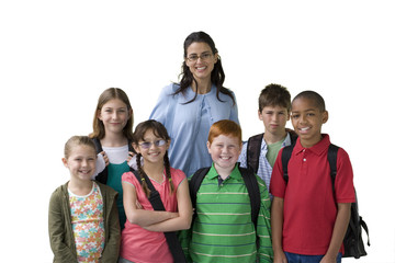 Female teacher posing with children, smiling, front view, portrait, cut out
