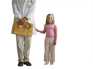 Girl standing beside doctor, smiling, portrait, cut out