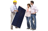 Construction worker showing solar panel to young couple, cut out