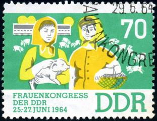 DDR. Frauenkongress. 1964. Timbre postal oblitéré.