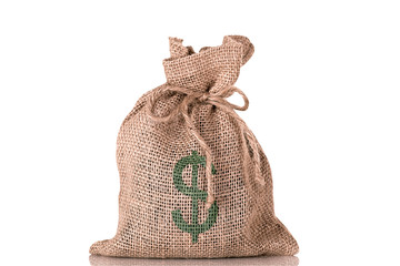 A bag of money with a dollar sign on it.