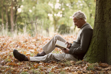 A senior man relaxing beneath a tree reading a book