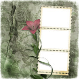 shabby background with stamp-frame poster