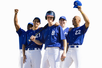 Baseball team, in blue uniforms, arms up, smiling, front view, portrait, cut out