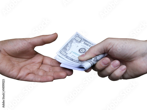 Hands exchanging one hundred dollar bills, cut out