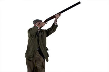 farmer holding gun, cut out