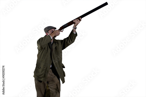 farmer holding gun, cut out